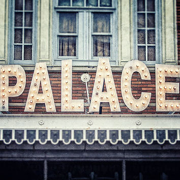 Movie Theater Art, Palace Theater Sign, Lake Placid New York Photography, Media Room Decor, Theater Room Decor, Yellow Blue Grey, Neon Sign.