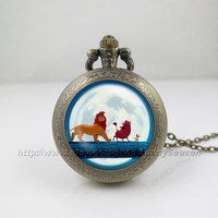 Hakuna Matata Pocket Watch, Lion king Locket necklace,simba lion king locket necklace Pocket Watch