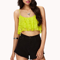 FOREVER 21 Ruffled Lace Crop Top Lime Large