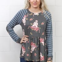 Floral Crown Skulls + Striped Sleeves Babydoll Top {Charcoal Mix}