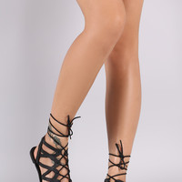 Qupid Studded Caged Lace-Up Flat Sandal