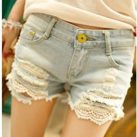 Dropped Circular Lace Light Blue Ripped Denim Shorts