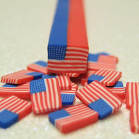 uncut polymer clay cane American Flag 1pc for miniature foods decoden and nail art supplies red white and blue