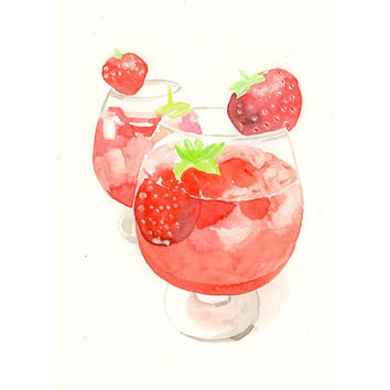 Original watercolor Painting - Strawberry Cocktail