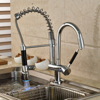 LED Color Changing Chrome Kitchen Faucet Dual Sprayer