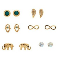Elephant & Hamsa Stud Earrings - 6 Pack by Charlotte Russe - Gold