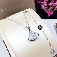 BVlgari Fashion New Diamond Pendant Sterling Silver Women Personality Necklace Silver