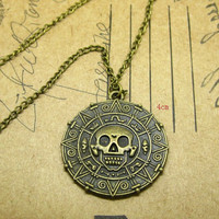Pirates of Caribbean Ghost Skull Pendant Necklace coin antique Charm myl04