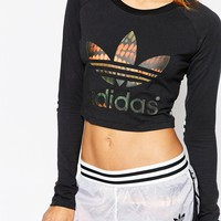 adidas Originals Rita Ora Long Sleeve Crop Top With Trefoil Logo In Multi Print