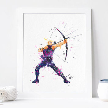 Hawkeye Avengers - Watercolor, Art Print, Home Wall decor, Watercolor Print, Marvel Superhero Poster