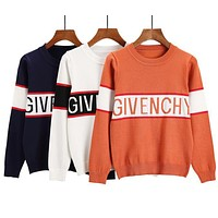 GIVENCHY Autumn Winter Classic Fashionable Women Leisure Jacquard Knit Long Sleeve Thin Sweater Pullover Top Sweatshirt