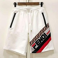 Fendi 2019 new color matching logo men and women casual sports shorts white