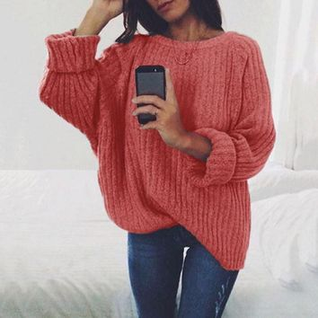 Winter Round-neck Long Sleeve Knit Tops Hot Sale Sweater [106350510095]