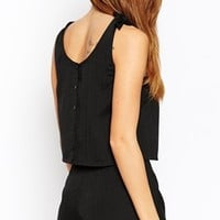 ASOS PETITE Exclusive Co-ord Top with Tie Straps and Button Back