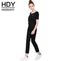HDY Haoduoyi Women Summer Fashion Black Brief Overall Shoulder straps Adjustable Jumpsuit