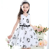 Sleeveless Kids Dress Summer Print Casual Dresses Princess Girls Clothes Print Children Costume Kids Clothes 4 to 12 Years