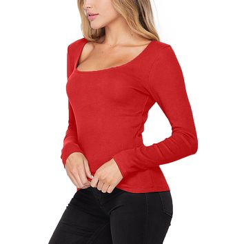 Ribbed Square Neck Top