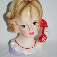 Head Vase Nancy Pew with Red Phone , Teenager with a Red Phone Collectible Head Vase