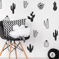 Cactus Wall Decals Woodland Tribal Cactus Wall Stickers for Kids Room Baby Nursery Decor Art Succulent and Cacti Wall Tattoo