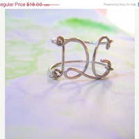 Personalized Initials Ring - Silver Monogram Wire Wrapped Ring - Any Letters - DG - Gift for her, friend, mom, girlfriend, sister, under 20