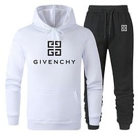GIVENCHY Fashion Men Women Warm Hooded Top Sweater Pants Set Two-Piece Sportswear White