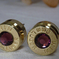 Bullet Earrings. February Birthstone. Amethyst . 9mm Luger.  FREE SHIPPING
