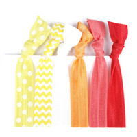 Hair Tie Elastics (6) Yellow, Orange, Red Hair Bands  - Knot Hair Tie Bracelets - Bright Hair Tie Accessories - Polka Dot, Chevron Hair Ties