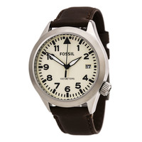 Fossil AM4514 Men's The Aeroflite White Dial Brown Leather Strap Watch
