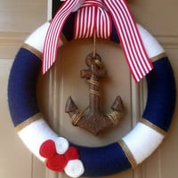 Nautical wreath / Yarn Wreath / Anchor Decor / Navy and White / Red and White