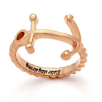 """Sister Ring -  Anchor Ring Engraved on Inside with """"Sister Stay Strong"""", Sizes 6 to 9"""