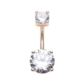 Rose Gold Classic Sparkle Prong Set Belly Button Ring