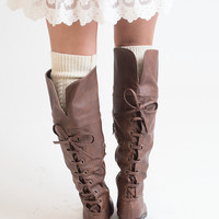 Tie 'Em With Flare Faux Leather Boots