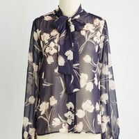 Fairytale Mid-length Long Sleeve Button Down Whisked Into Elegance Top