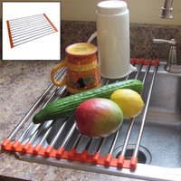 Evelots® Stainless Steel Folding Drain Rack Fits in Any Sink - Orange
