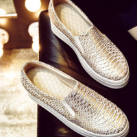 Scale Pattern Loafers Genuine Leather Women Platform Shoes 3293