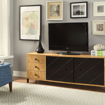 Acme 90175 Honna retro modern natural black finish wood tv stand