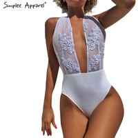 Simplee Apparel Sexy backless elegant jumpsuit romper Halter lace applique summer playsuit women mesh bodysuit one-piece leotard