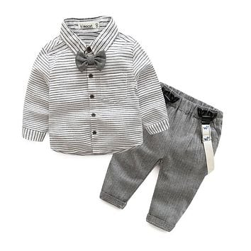 born baby clothes children clothing gentleman baby boy grey striped shirt+overalls fashion baby boy clothes newborn clothes