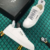 Cc Suede Calfskin Women Sneakers White - Best Online Sale