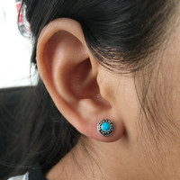 Round Turquoise Stud Earrings, Turquoise Earrings, Turquoise Jewelry, Boho Stud earrings, Small Turquoise Studs, cartilage, helix, targus