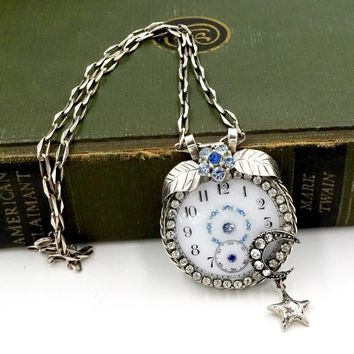 Vintage STERLING SILVER NECKLACE Up Cycle Antique Pocket Watch Face Pendant Necklace
