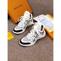 LV Louis Vuitton Men and Women's Leather Sneakers Shoes White