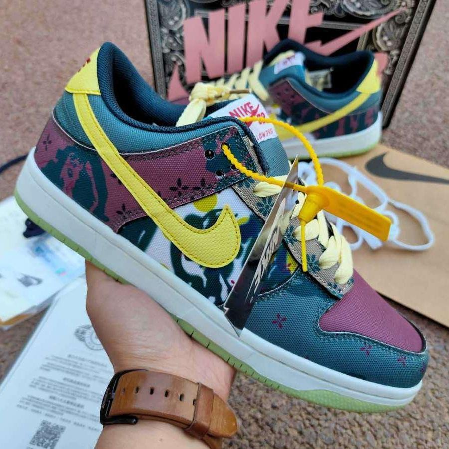 Image of Nike Dunk Low Lemon Water Wash Small Cashew Flower Denim Blue Men and Women Casual All-match Shoes