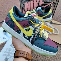Nike Dunk Low Lemon Water Wash Small Cashew Flower Denim Blue Men and Women Casual All-match Shoes