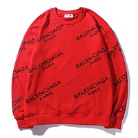 Balenciaga fashionable printed hoodies with round necks and long sleeves are hot sellers for casual couples Red