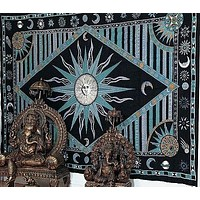 Cotton Celestial Sun Moon Star Tapestry Tablecloth Rectangle Green