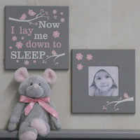 Now I Lay Me Down To Sleep - Children's Prayer Signs - Painted Gray and Light Pink Baby Girl Nursery Decor - Set of 2 - Photo Frame and Sign