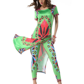 Mavodovama  Summer Women Casual Sexy Dress Women High Slit Dress Robe Longue Femme Africa Print Maxi Dresses Robe Femme 9106