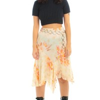 Vintage 90's Peaches & Cream Silk Floral Fairy Skirt - S/M/L