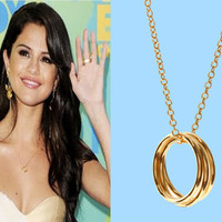 SelenaGomez, Triple, Goldfilled, Ring, Necklace, Triple, Ring, Jewelry, Triple, Circle, Celebrity, Inspired, Necklace